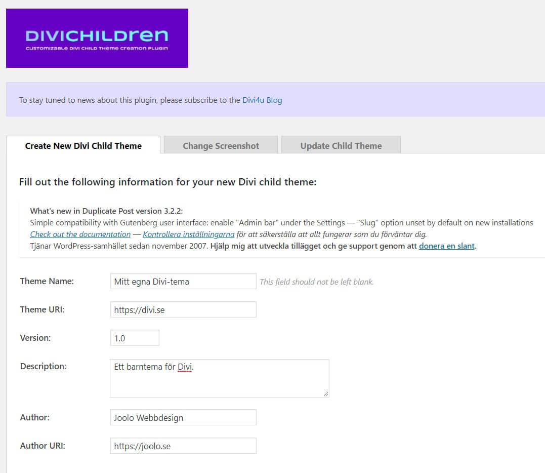 Divi Children – för att enkelt skapa ett barntema (childtheme)
