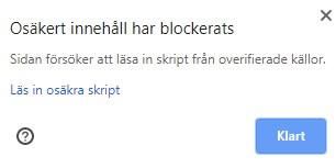 Osäkert innehåll har blockerats - mixed content 1