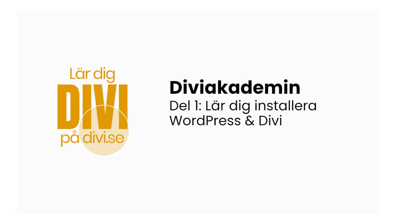 Diviakademin Grundkurs del 1: Lär dig installera WordPress och Divi (videoguide)